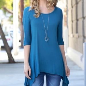 Altar'd State High Low Hem Tunic Teal Size M